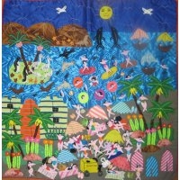 Large Beach Arpillera These vibrant textiles are hand made by Peruvian women  Arpillera depict scenes from daily life   They have a wonderful 3 dimensional nature created through the application of different  motifs including people animals  fruit and vegetables set in the landscape  Th. Please Click the image for more information.