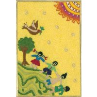 Embroidered card depicting children at play These beautiful cards are hand stitched by women from West Bengal in IndiaNot only can they be used as cards but they are also beautiful framed as textile art pieces  A c. Please Click the image for more information.