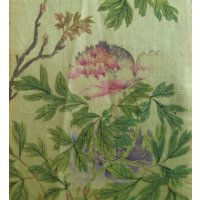 "Antique Chinese Silk Zai Shui 'Tie"" with exquisite botanical painting. A soft yellow silk painted zai shui or tie   A long triangular pendant used as a cermonial kerchief fastened to a button at the neck of a court robe to indicate rank. Please Click the image for more information."