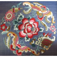 Antique Chinese Silk Embroidered Roundel A silk embroidered roundel from a Chinese robe  depicting flowers bats and other auspicious symbols in soft shades of pink and cream on blue silk . Please Click the image for more information.