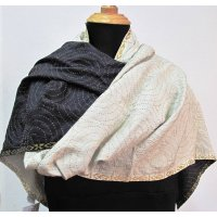 Lustrous black and white reversible shawl Silk shawl  throw or wall hanging with hand stitched kantha embroidery in silk  The border on each end of the cloth is heavily embroidered with simple rows of stitching in a circular design filling the body of the shawl  Kantha embroidery is a traditional art form  of West Bengal in India  It i. Please Click the image for more information.