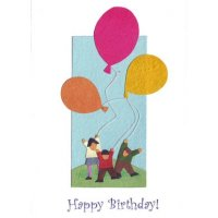 Balloon Happy Birthday Handmade and fair trade greeting card made from recycled paper in Rwanda Please Click the image for more information.