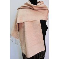 Light pink hand woven silk shawl Hand loomed silk shawlin the softest pink with geometric patterns in the same colour in a supplementary weft . Please Click the image for more information.