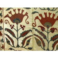 Flower suzani embroidery This suzani has an overall design of upright flowers and leaves  It has a ground fabric of a slightly loosley woven hand spun cotton that gives the piece a more rustic or country feelT. Please Click the image for more information.