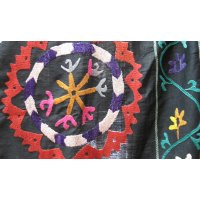Vintage Black Suzani with bright roundels This vibrant suzani has been hand stitched in silk fabric  It has a machine stitched border incorporating vintage cotton fabrics . Please Click the image for more information.