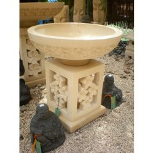 AN4321 Frangipani Bowl and Pillar AN 4321 Limestone Frangipani Bowl and Pillar  55cm Please Click the image for more information.