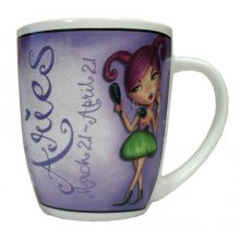 MUG - ARIES These colourful mugs feature a funky character that cleverly represents each of the astrological signs. Please Click the image for more information.