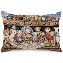 """Teddy Tea Party"" Rectangle Cushion Cover Teddy Tea Party Rectangle Cushion CoverThe back of the cushion haS a zipper  Measurements 33cm x 45cmPlease note that photos are taken from real products though sometimes the camera does not show the exact colours you see with your eyes  . Please Click the image for more information."