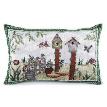"""BIRDHOUSE"" Rectangle Cushion Cover BIRDHOUSE Rectangle Cushion CoverThe back of the cushion has a zipper  Measurements 33cm x 45cmPlease note that photos are taken from real products though sometimes the camera does not show the exact colours you see with your eyes  . Please Click the image for more information."