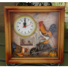 Country Shadow Box Clock - ROOSTER Lovely COUNTRY Shadow Box Clock  ROOSTERThis clock is made from timber with a glass front faceThis clock has has a rooster on a wheel barrow and a hen having something to eat all in 3DAdd a litt. Please Click the image for more information.