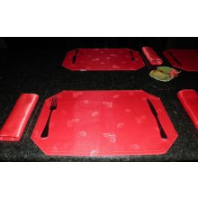 CHRISTMAS Set of 4 Placemats & Napkins Set of 4 red CHRISTMAS Placemats  NapkinsThey all have a holly design over them really lovelyThe plac. Please Click the image for more information.