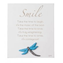 SMILE SMILE Inspirational timber plaqueThe plaque has a dragonfly motif mounted to the bottom of the plaqueThis . Please Click the image for more information.