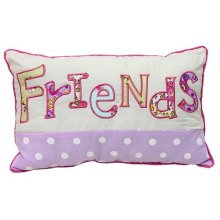 FRIENDS Cushion FILLED BEAUTIFUL Decorative FRIENDS Cushion FILLEDThis cushion is just lovely the background is cream and the bottom half is lilac with white poka dots  Th. Please Click the image for more information.