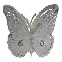 Lovely shabby white Butterfly Votive - Large Butterflies are undeniably beautiful as are these large Butterfly VotivesTwo large finely detailed white butterflies surround a hollowed out space in between them which is ideal for a medium to large sized candlePillar candles that are white beige or grey in color would match the candle holders beautifullyWhen lit . Please Click the image for more information.