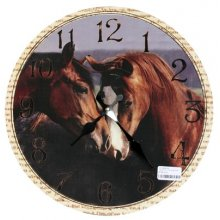 BEAUTIFUL Country TWO HORSES Clock 34cm diameter Georgous Country TWO HORSES Clock This clock has an aged lookThe hands are metalAdd a little country to your homeMeasurement 34. Please Click the image for more information.