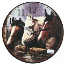 BEAUTIFUL Country THREE HORSES Clock 34cm diameter Georgous Country THREE HORSES Clock This clock has an aged lookThe hands are metalAdd a little country to your homeMeasurement 34. Please Click the image for more information.