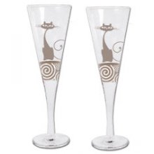 Set of 2 Champagne glasses - NINE LIVES set of 2 Kelly Lane  ArtieFartie Champagne Glasses from the NINE LIVES  Range  These glasses are very chicPerfect. Please Click the image for more information.