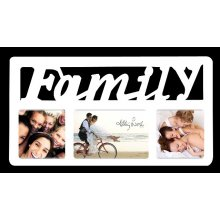 3 Hole White FAMILY Script - 40x22cm Display photos of the people you love in this 3 photo Collage Featuring a bit of bling this collage is sure to pleaseF. Please Click the image for more information.