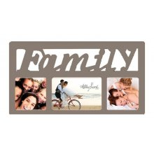 3 Hole Beige FAMILY Script - 40x22cm Display photos of the people you love in this 3 photo Collage Featuring a bit of bling this collage is sure to pleaseF. Please Click the image for more information.