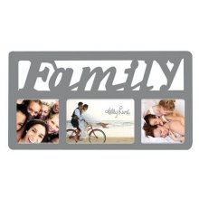 3 Hole Silver FAMILY Script - 40x22cm Display photos of the people you love in this 3 photo Collage Featuring a bit of bling this collage is sure to pleaseF. Please Click the image for more information.