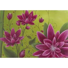 Triple Lotus Flower triple purlpe lotus flower on bright green background on canvas Please Click the image for more information.
