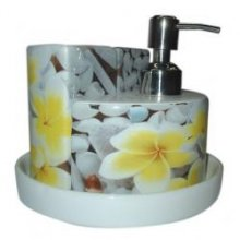 Round Bathroom Set Frangipani 4pc Round Bathroom Set in Frangipani design Lotion pump Toothbrush holder brush holder  tray  Please Click the image for more information.