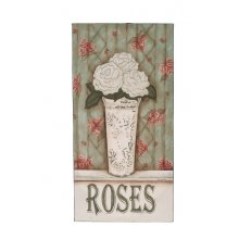 WOOD PLAQUE - ROSES Shabby Chic Roses Wall ArtExcellent quality all ready to hand on your wallMeasurements 61cm x 31cm x 65cm. Please Click the image for more information.