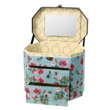 Beautiful Blue Flowers Jewellery Box w/Mirror The colours in this jewellery box are so nice with a rich french blue background and light and dark pink flowersT. Please Click the image for more information.