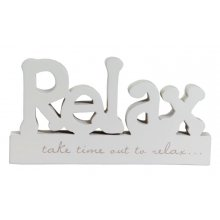 BLOCK WORD - Relax Cute block word with verse  Verse reads Take time out to relax Length 232cm  Please Click the image for more information.