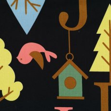 Bird & Tree Alphabet Black A fabulous japanese fabric featuring large scale letters of the alphabet along with trees birds  bird houses. Please Click the image for more information.
