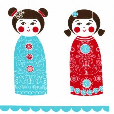Kristen Doran Kokeshi Doll Panel Red &amp; Blue