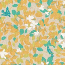 Hummingbird Leaves Orange  Stunning whimsical hummingbird  leaf design printed on a medium weight textured cottonlinen blend Id. Please Click the image for more information.