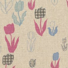 Tokyo Mon You Tulip Pink & Blue Japanese Kokka fabric with contemporary tulip bloom design on a lovely cotton linen blendMedium weight fabric perfect for lampshades cushions and bags but would also make a wonderful skirt . Please Click the image for more information.