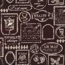 Postage Linen Blend Chocolate Interesting and a little different this japanese fabric depicts old stamps and script writing on a medium weight cotton linen blend. Please Click the image for more information.