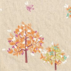 Hummingbird Trees Orange on Natural Stunning whimsical tree and hummingbird design printed on a medium weight textured cottonlinen blend I. Please Click the image for more information.