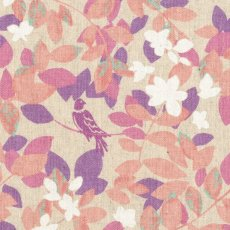 Hummingbird Leaves Pink  Stunning whimsical hummingbird  leaf design printed on a medium weight textured cottonlinen blend Id. Please Click the image for more information.