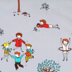 Little Apples Ring A Rosie Grey Little Apples is a delightful childrens fabric collection of whimsical designs featuring apples apple trees and children playing Please Click the image for more information.