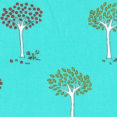 Little Apples Trees Aqua Little Apples is a delightful childrens fabric collection of whimsical designs featuring apples apple trees and children playing Please Click the image for more information.