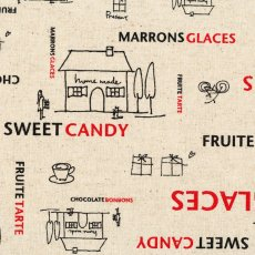 Sweet Times Red & Black on Natural Sweet Times is a cafe style fabric design with tempting script words like chocolate bonbons sweet candy  fruite tarte surrounding sweet little home made cafesSweet Time. Please Click the image for more information.