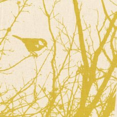 Kristen Doran Winter Nest Mustard on Cream Panel
