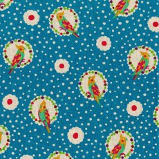 Echino Cockatiel Turquoise Remnant Designed by Japanese textile designer Etsuko Furuya Echino Cockatiel has a sweet small scale bird design printed on a linen cotton blendA . Please Click the image for more information.