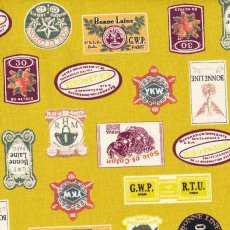 French Vintage Labels Mustard A fabulous Japanese fabric with a vintage appeal perfect for many a unique project Please Click the image for more information.
