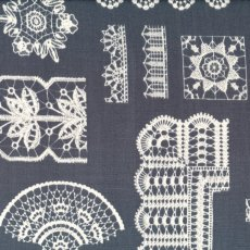 Lace Chintz Grey Lace Chintz has exquisite varied lacework designs with a lace border design on the selvedge Printed on a beautifully soft double gauze . Please Click the image for more information.