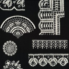 Lace Chintz Black Lace Chintz has exquisite varied lacework designs with a lace border design on the selvedge Printed on a beautifully soft double gauze . Please Click the image for more information.