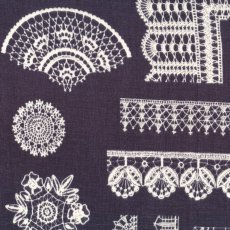 Lace Chintz Eggplant Lace Chintz has exquisite varied lacework designs with a lace border design on the selvedge Printed on a beautifully soft double gauze . Please Click the image for more information.