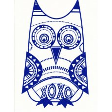 Bela Hoo Owl Navy on Cream Craft Panel