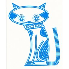 Lisey Meow Meow Blue on Cream Craft Panel