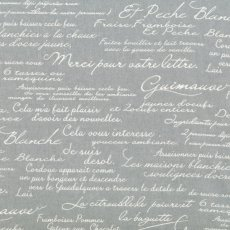 Mono Cloth Script White on Grey This Mono Cloth Script fabric design works well with the French Provincial theme with its French script writing and neutral colourway. Please Click the image for more information.