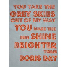 Doris Day Orange Singsong Crafty Panel Perfect for the karoke queens This fabulous singsong fabric panel is hand screen printed in Australia by the talented duo cat  vee D. Please Click the image for more information.