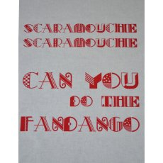 Scaramouche Fandango Red Singsong Crafty Panel Perfect for the karoke queens This fabulous singsong fabric panel is hand screen printed in Australia by the talented duo cat  vee D. Please Click the image for more information.